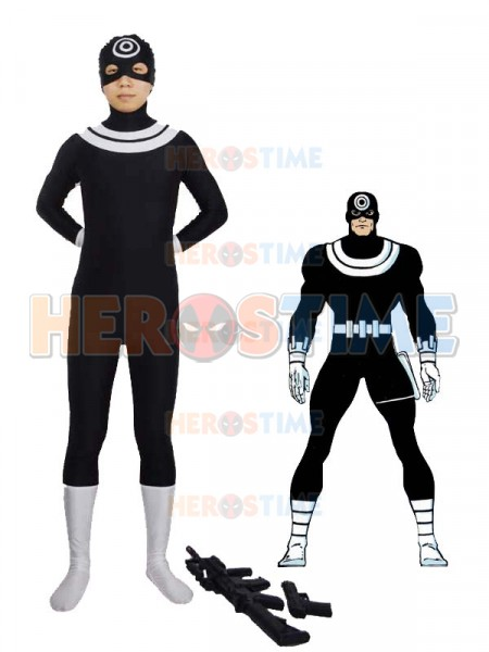 Black  & White Supervillain Bullseye Spandex Costume