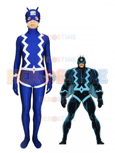 The Black Bolt Blue Spandex Superhero Costume