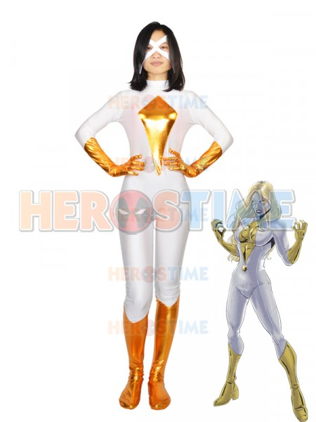 Moonstone White & Gold Spandex Superhero Costume