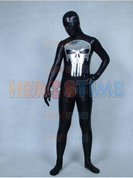Traje Negro de Punisher de color Metálico Brillante