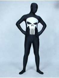 Black & White Punisher Spandex Superhero Costume