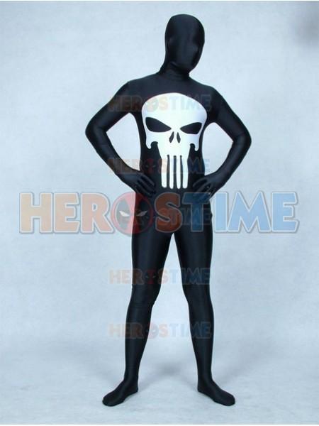 Disfraz Negro y Blanco de Spandex de Punisher