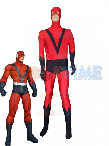 Red & Navy Blue Giant Man Spandex Superhero Costume