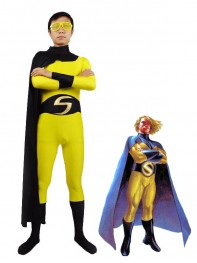 Yellow & Blakc Superhero Sentry Spandex Superhero Costume