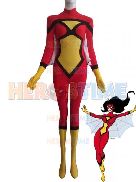 Rojo & Amarillo Traje de Spandex de Spider-Woman de Superhéroe