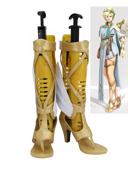 Overwatch Mercy Shose Angela Ziegler Cosplay Boots