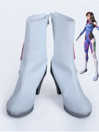 Overwatch D.Va Custom White High Heels Cosplay Boots