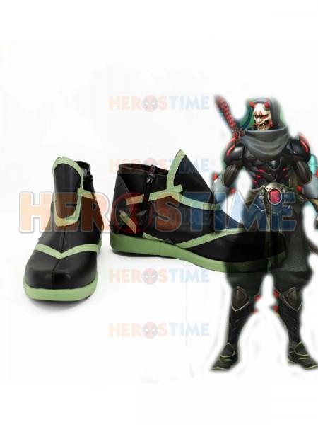 Overwatch Genji Ghost Skin Black Cosplay Shoes