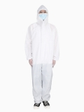 Protective Isolation Gown Attached Hood Free Size Disposable Gown
