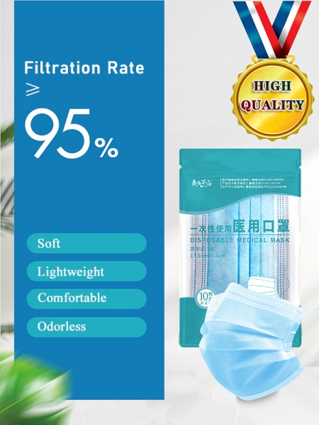 Mascarilla Médica Desechable ≥95% de Filtración 10PCS