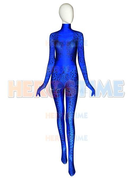 Disfraz de mística X-Men con traje de mística de alta gama con pintura de hojaldre