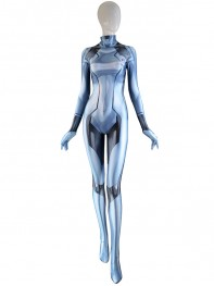 Samus Zero Costume Silver Color Girl Cosplay Suit 3D Printed