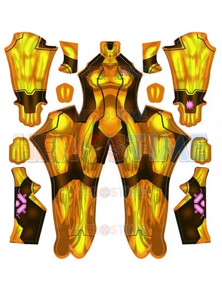 Samus Zero Disfraz de Cosplay Dorado / Naranja Samus Zero Disfraz de niña