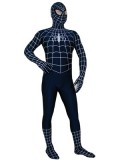 Navy Blue & White Stripes Spiderman Spandex Superhero Costume