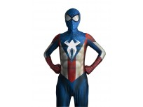 Captain America Spider-Man Hybrid Superhero Costume Morph Fullbody Suit