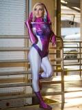 Traje de Spider de Gwen Stacy  la Versión Brillante  Disfraz de Superhéroe sin máscara