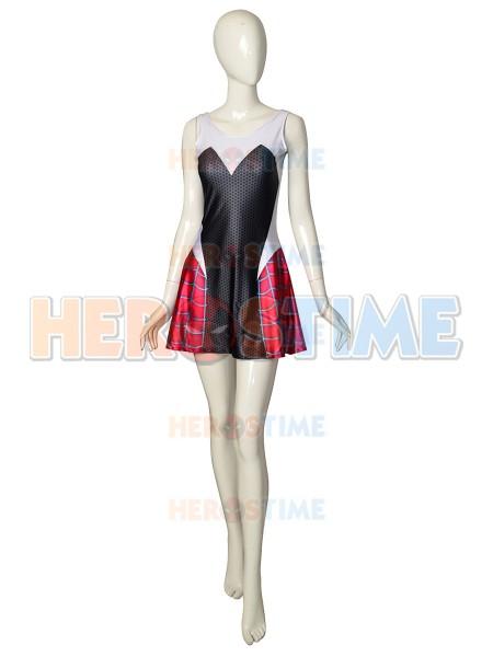 Vestido de Gwen Stacy de Spider-man de Spandex Cosplay