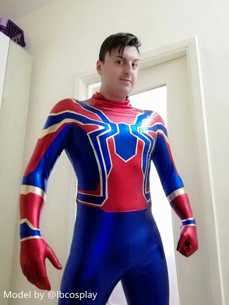Disfraz de araña de hierro metálico brillante Araña de hierro real azul y rojo
