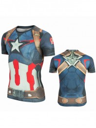 Agents of SHIELD Captain America 3D Superhero Slim Fit Sport Quick Dry T-shirt