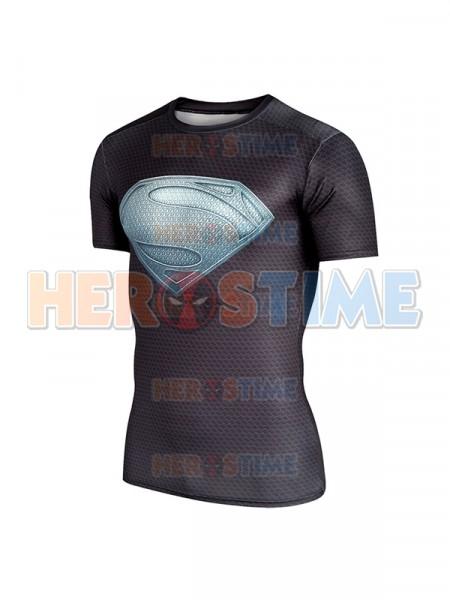 Black Superman Logo Short Sleeve Dry Quick Shirt