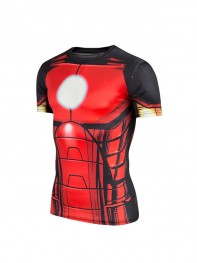 Red Iron Man Superhero Pattern Slim Fit Sport Quick Dry Tee