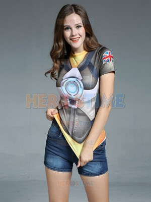 Overwatch Tracer Lena Oxton Spandex/Lycra Cosplay T-shirt