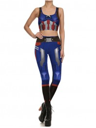 2017 Captain America The Avergers Superhero Print Vest Top Fitting Leggings