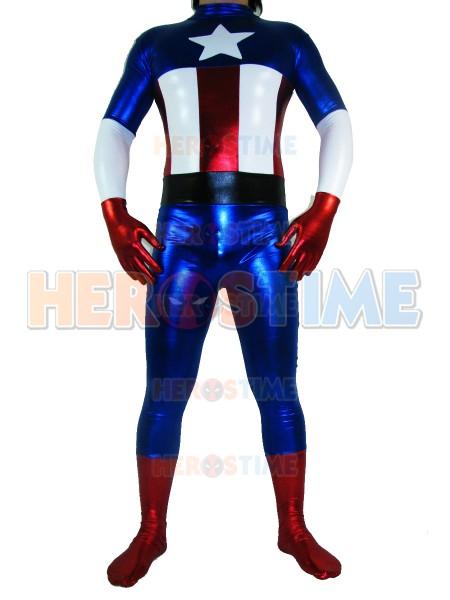 Shiny Metallic Captain America Superhero Costume