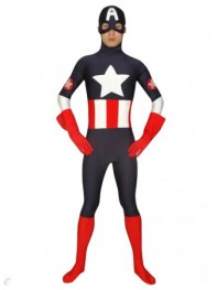 Captain America Black Spandex Superhero Costume