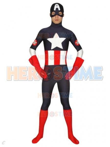 Captain America Black Spandex Superhero Costume