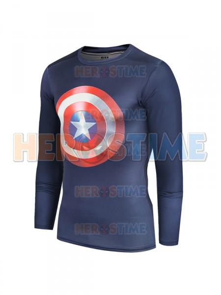 Navy Blue Captain America Shield Quick Dry 3D Patterns Tee Sportswear