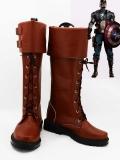 Últimas Botas Marrones de Capitán América Shield Star de Superhéroe Cosplay