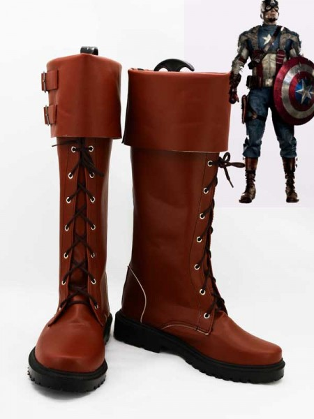 Últimas Botas Marrones de Capitán América Shield Star de Superhéroe Cosplay