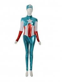 Captain America Shiny Metallic Marvel Superhero Costume