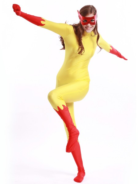 Red & Yellow Firestar Spandex Superheros Costume