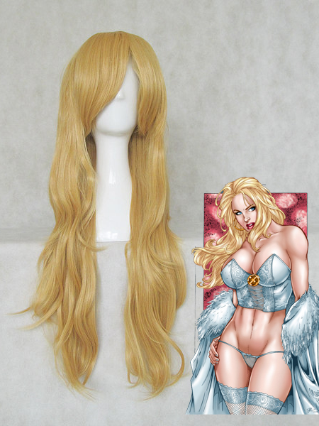 X-men Emma Frost Gold 80CM Long Curly Wig