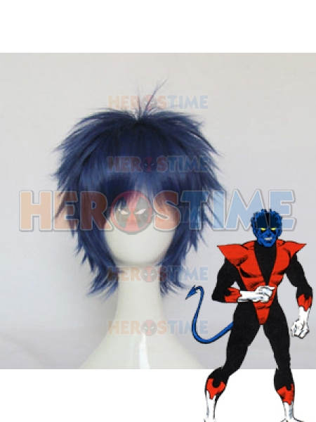 X-men Nightcrawler Short Blue & Black Wig