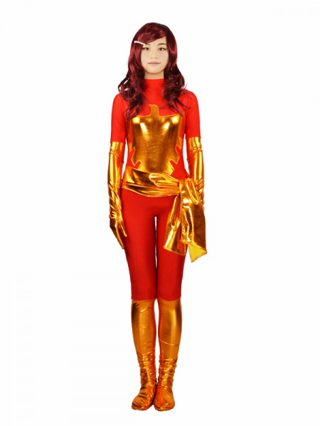 Red X-men Dark Phoenix Spandex Superhero Costume