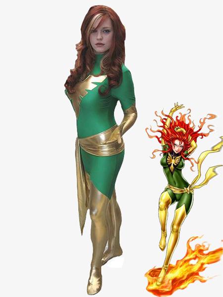 Traje Verde de superheroína Dark Phoenix de X-Men de Spandex