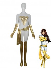 White & Gold X-men Phoenix Superhero Costume