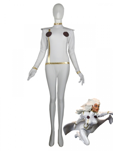 X-men White Storm Spandex Superhero Costume No Cape