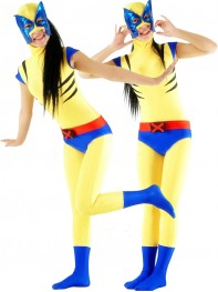 Cute Yellow & Blue Wolverine Superhero Costume