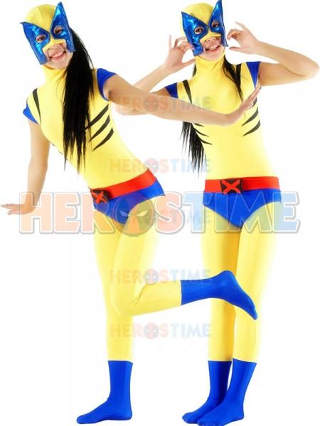 Traje de Wolverine de color Amarillo Azul para Mujeres  ¡Muy Lindo!